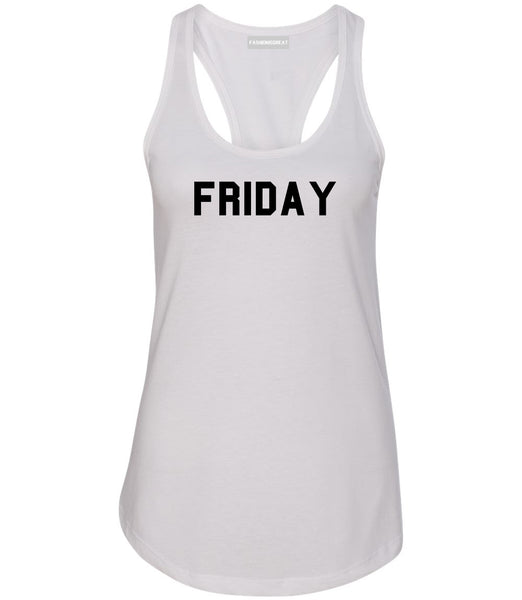Friday Days Of The Week White Womens Racerback Tank Top