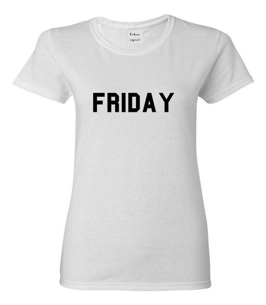Friday Days Of The Week White Womens T-Shirt
