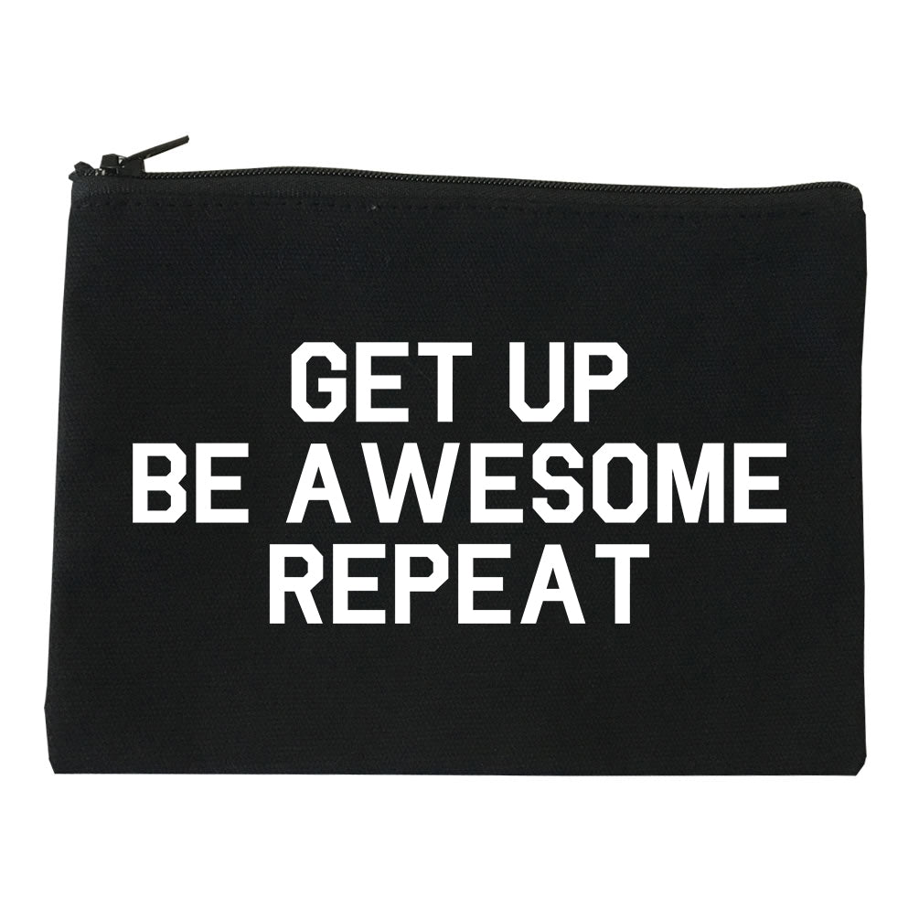 Get Up Be Awesome Repeat Black Makeup Bag