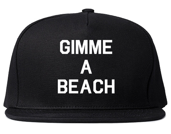 Gimme A Beach Funny Vacation Black Snapback Hat