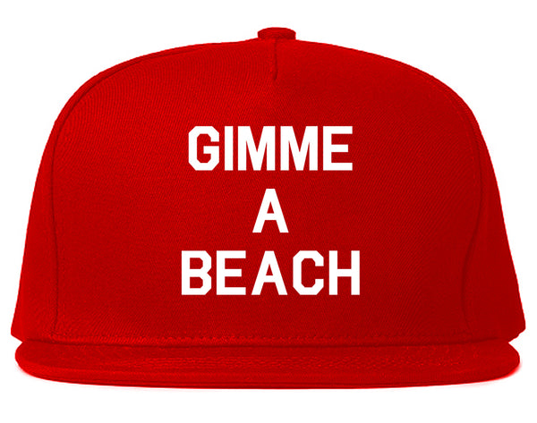 Gimme A Beach Funny Vacation Red Snapback Hat