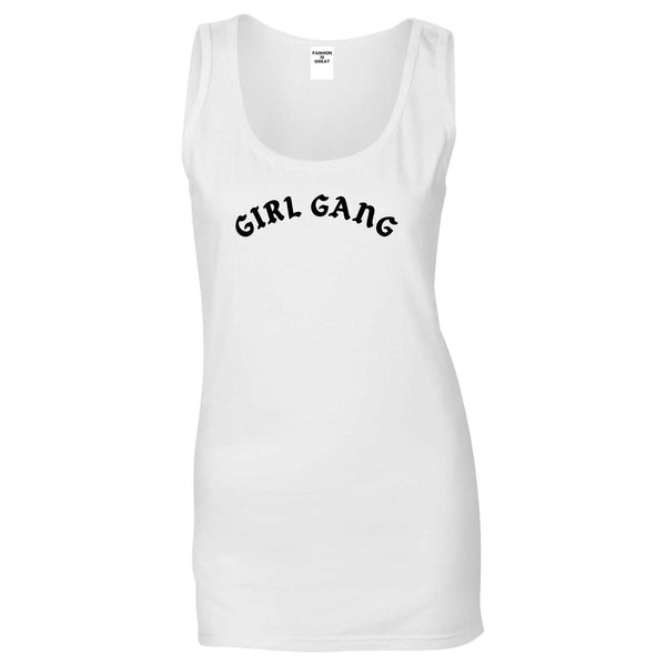 Girl Gang Squad Womens Tank Top Shirt White