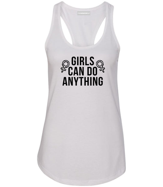 Girls Can Do Anything Feminist Logo Womens Racerback Tank Top White