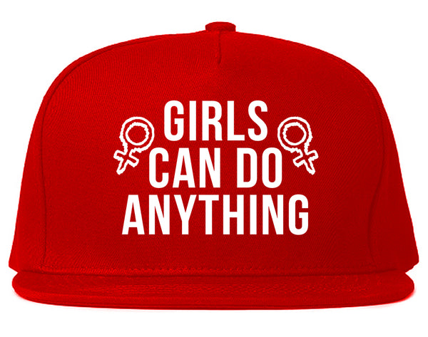 Girls Can Do Anything Feminist Logo Snapback Hat Red