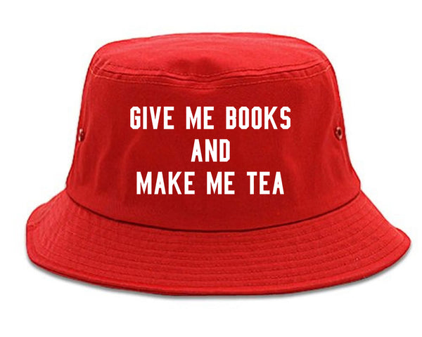 Give Me Books Make Tea Red Bucket Hat
