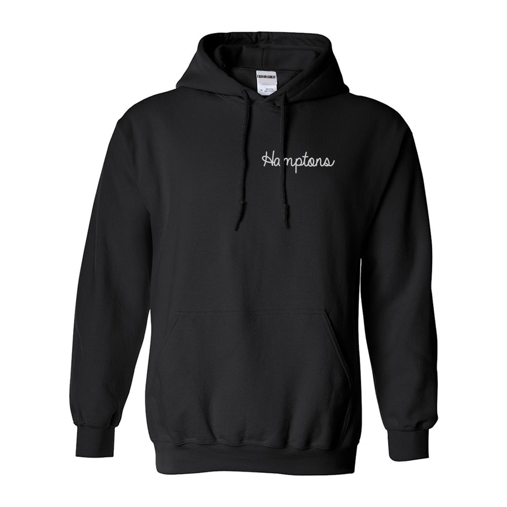 Hamptons NY Script Chest Black Womens Pullover Hoodie