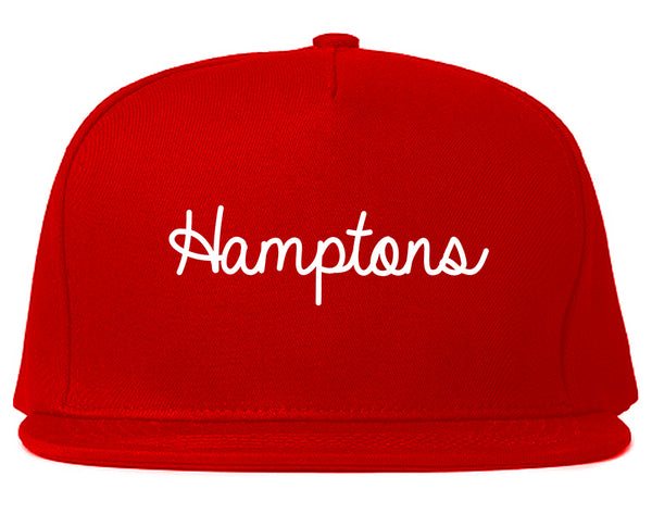 Hamptons NY Script Chest Red Snapback Hat