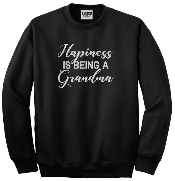 Happiness Is Being A Grandma Black Womens Crewneck Sweatshirt