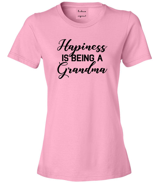 Happiness Is Being A Grandma Pink Womens T-Shirt