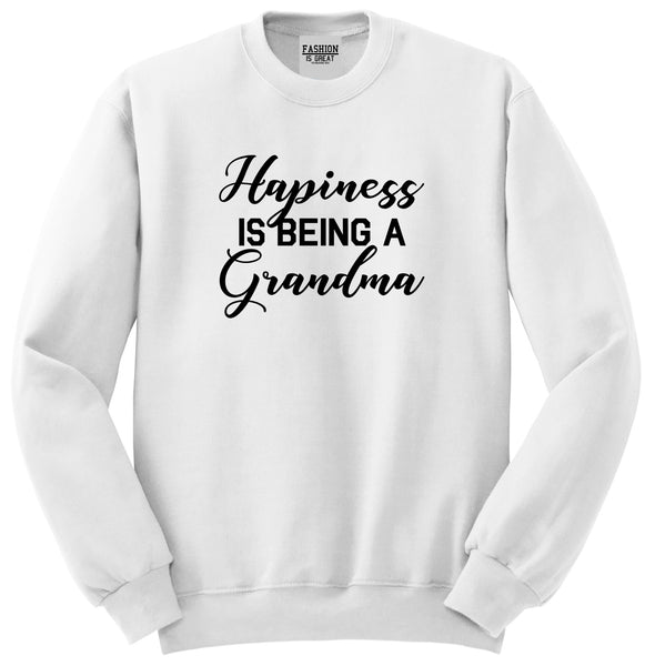 Happiness Is Being A Grandma White Womens Crewneck Sweatshirt