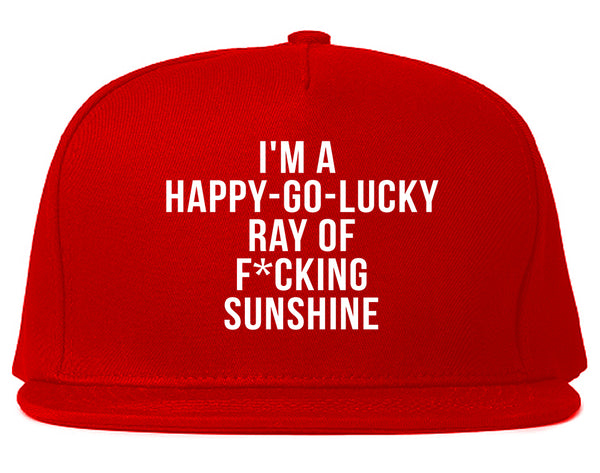 Happy Go Lucky Snapback Hat Red