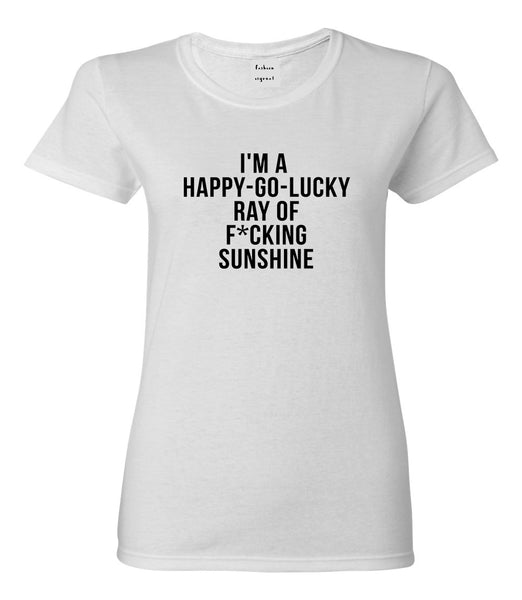 Happy Go Lucky Womens Graphic T-Shirt White
