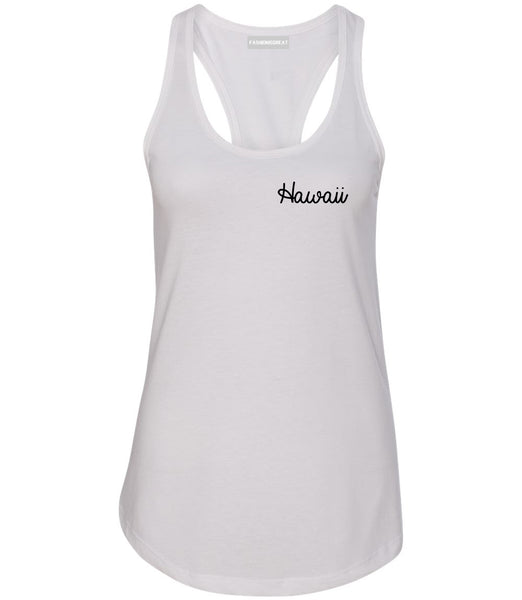 Hawaii HI Script Chest White Womens Racerback Tank Top