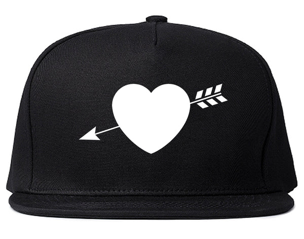 Heart Arrow Cupid Chest Black Snapback Hat