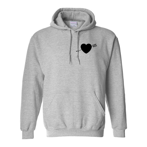 Heart Arrow Cupid Chest Grey Womens Pullover Hoodie