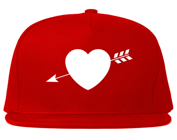 Heart Arrow Cupid Chest Red Snapback Hat