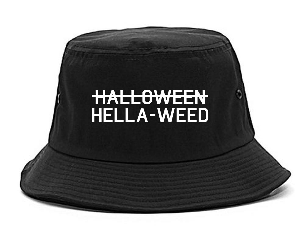 Hella Weed Halloween Funny black Bucket Hat