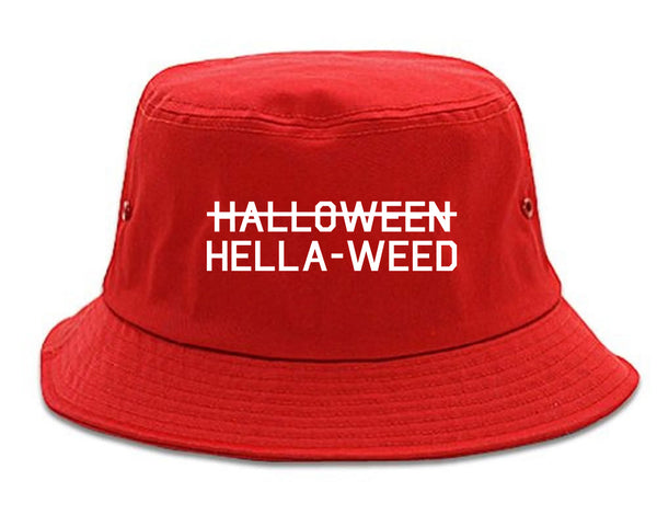 Hella Weed Halloween Funny red Bucket Hat