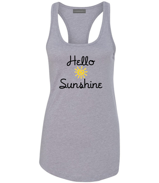 Hello Sunshine Womens Racerback Tank Top Grey
