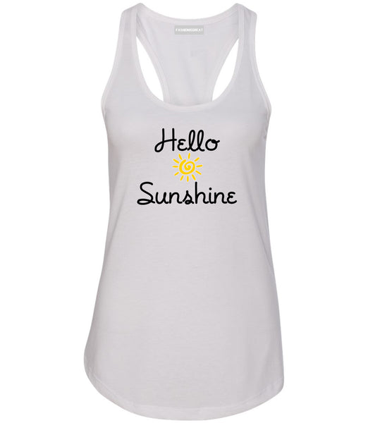 Hello Sunshine Womens Racerback Tank Top White