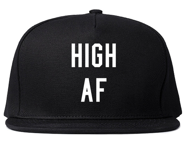 High AF Weed Marijuana Snapback Hat Black