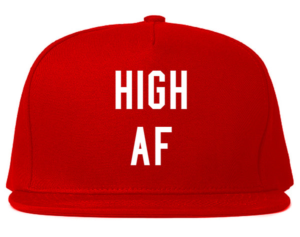 High AF Weed Marijuana Snapback Hat Red
