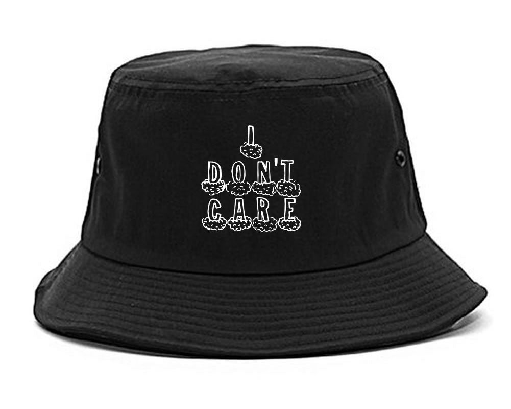I Dont Care Funny Chest black Bucket Hat