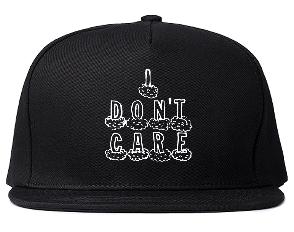 I Dont Care Funny Chest Black Snapback Hat
