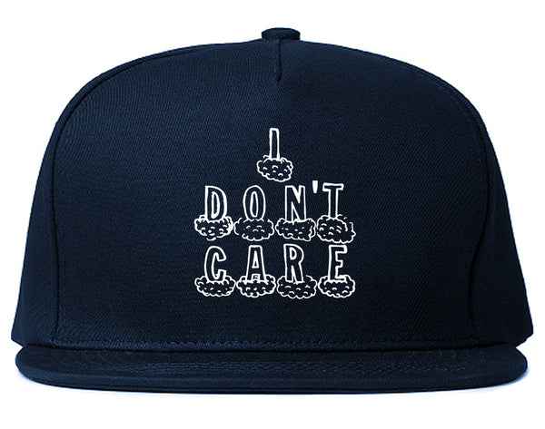 I Dont Care Funny Chest Blue Snapback Hat