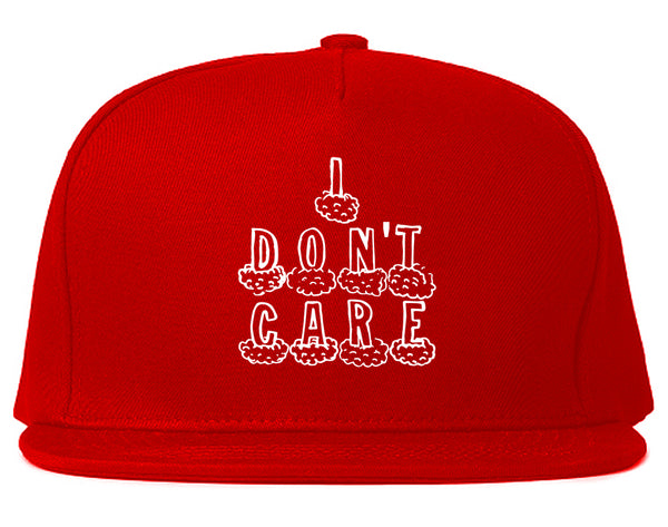 I Dont Care Funny Chest Red Snapback Hat