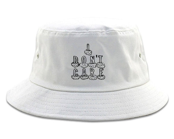 I Dont Care Funny Chest white Bucket Hat