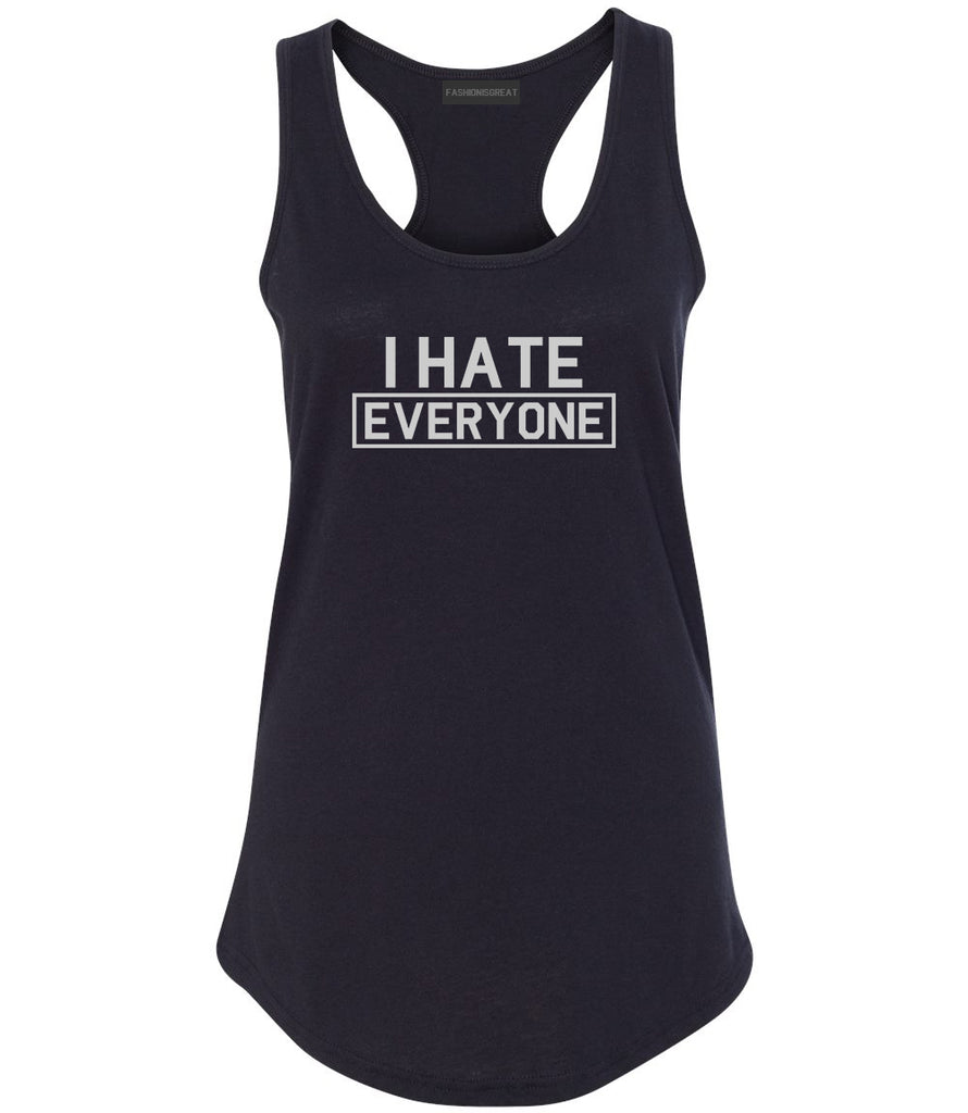 I Hate Everyone Goth Funny Womens Racerback Tank Top Black
