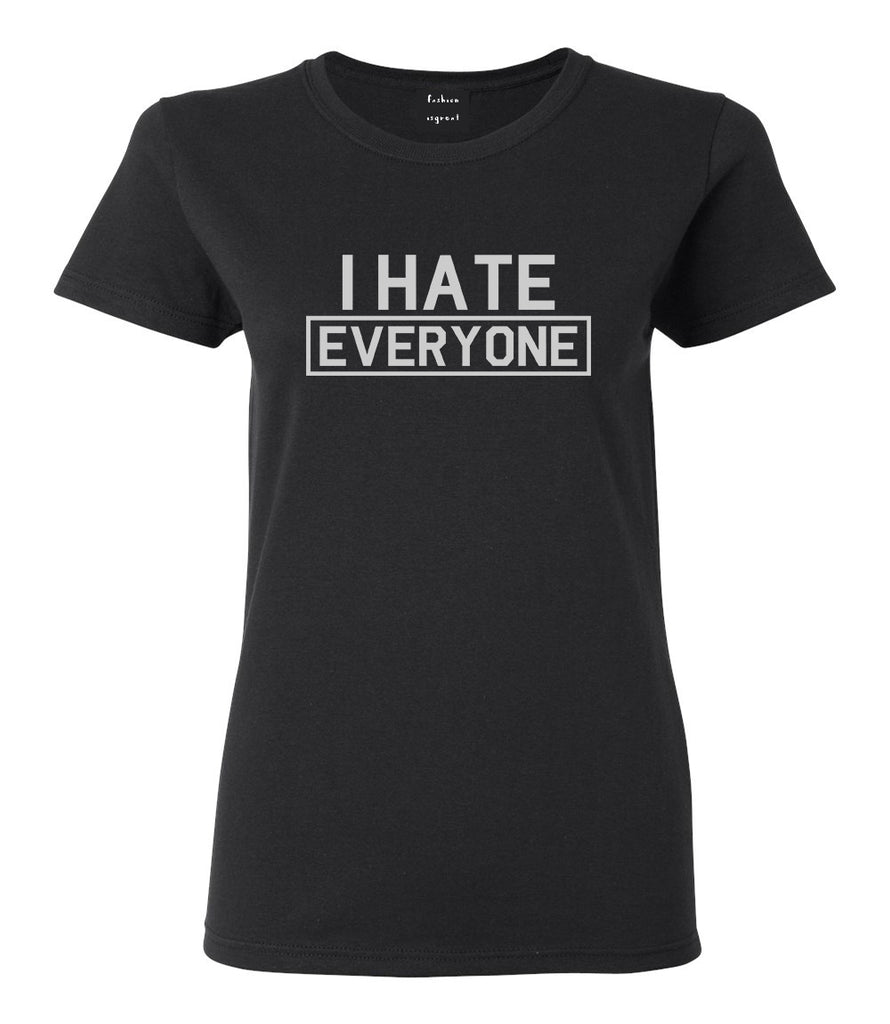 I Hate Everyone Goth Funny Womens Graphic T-Shirt Black