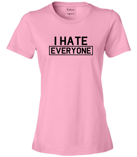 I Hate Everyone Goth Funny Womens Graphic T-Shirt Pink
