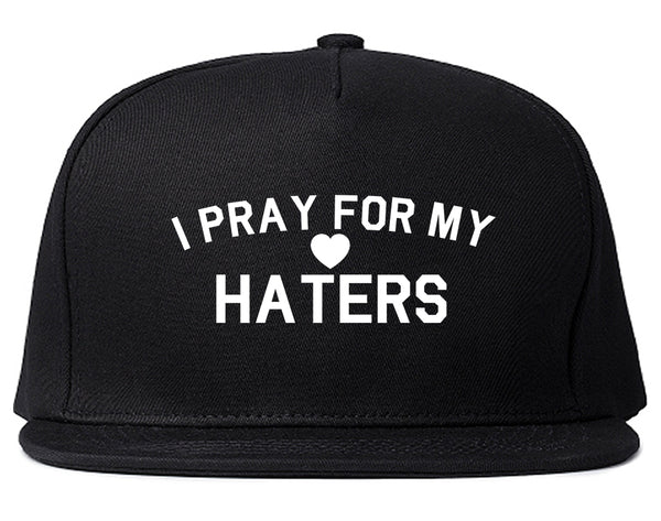 I Pray For My Haters Heart Snapback Hat Black