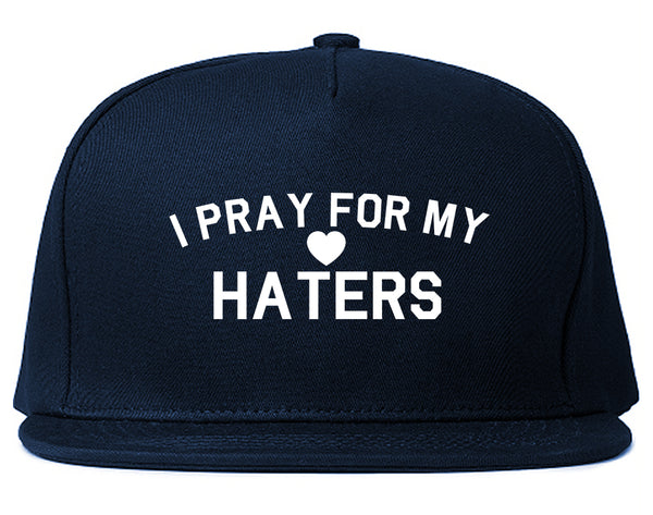 I Pray For My Haters Heart Snapback Hat Blue
