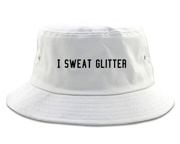 I Sweat Glitter White Bucket Hat