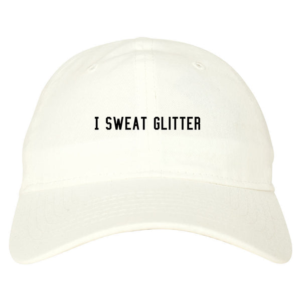 I Sweat Glitter White Dad Hat
