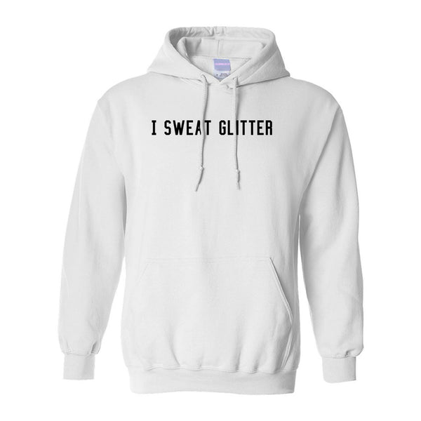 I Sweat Glitter White Pullover Hoodie