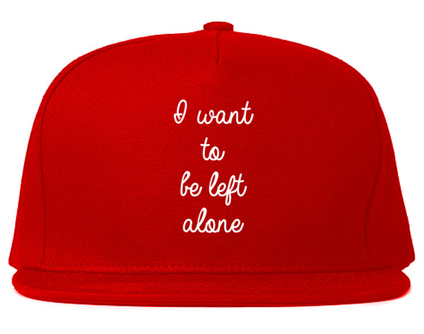 I Want To Be Alone Chest Red Snapback Hat