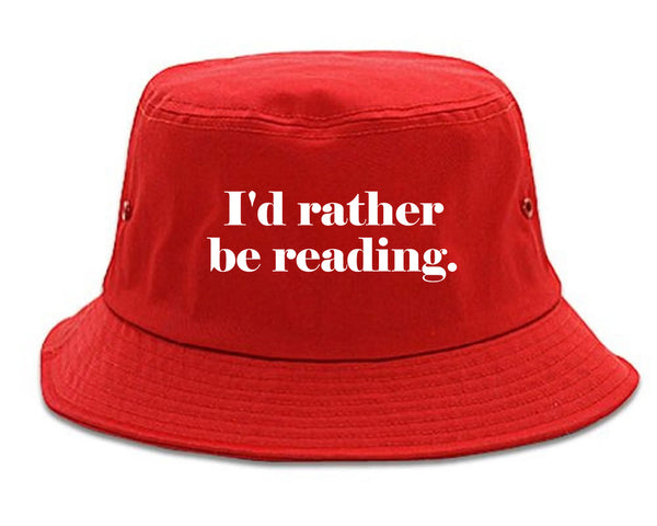 Id Rather Be Reading Book Lover red Bucket Hat