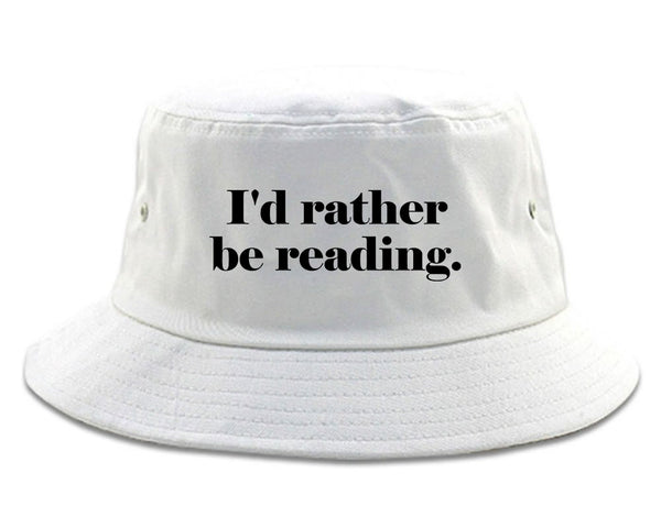 Id Rather Be Reading Book Lover white Bucket Hat