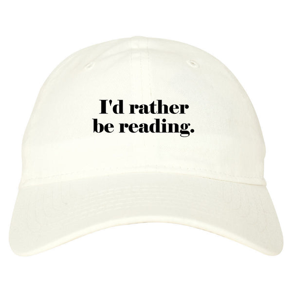 Id Rather Be Reading Book Lover white dad hat