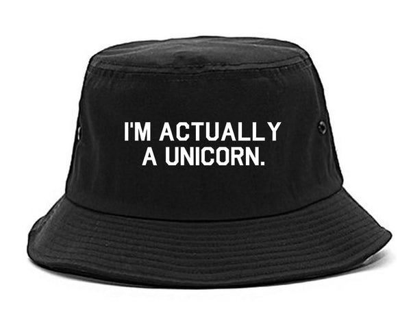 Im Actually A Unicorn Black Bucket Hat