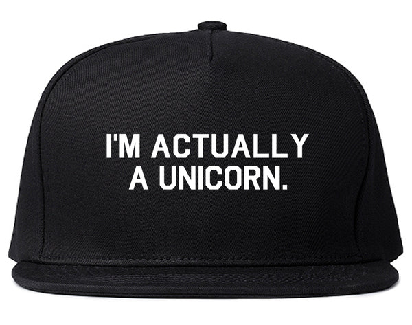Im Actually A Unicorn Black Snapback Hat