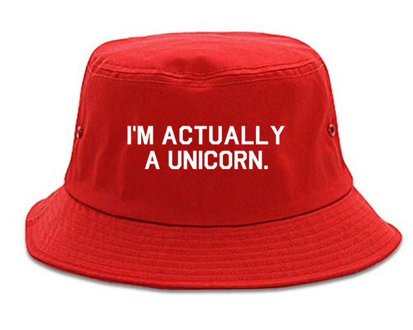 Im Actually A Unicorn Red Bucket Hat