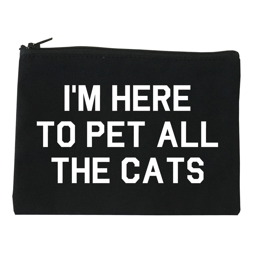 Im Here To Pet All The Cats Black Makeup Bag