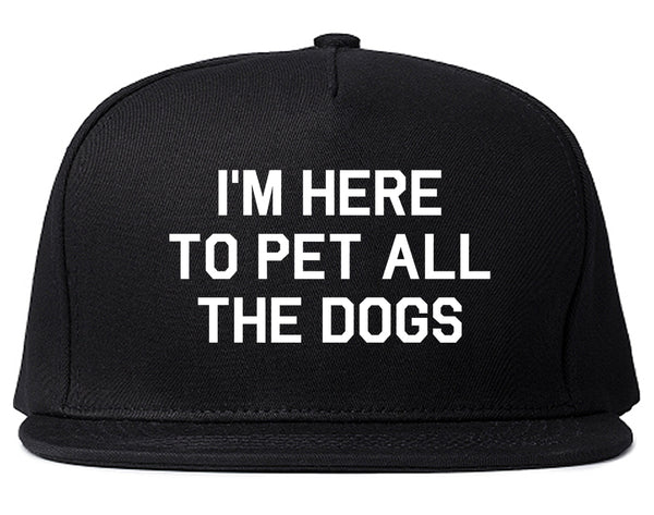 Im Here To Pet All The Dogs Black Snapback Hat