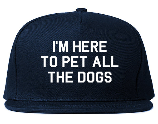 Im Here To Pet All The Dogs Blue Snapback Hat