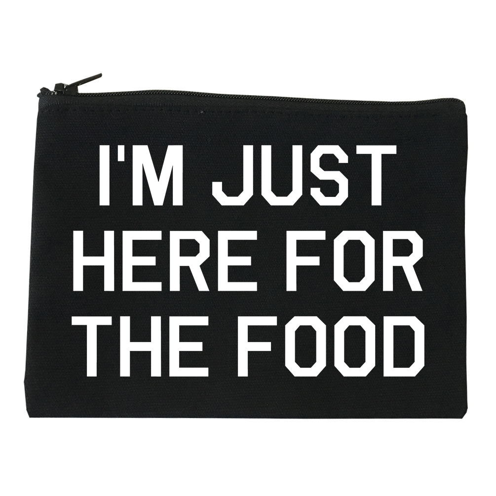 Im Just Here For The Food black Makeup Bag
